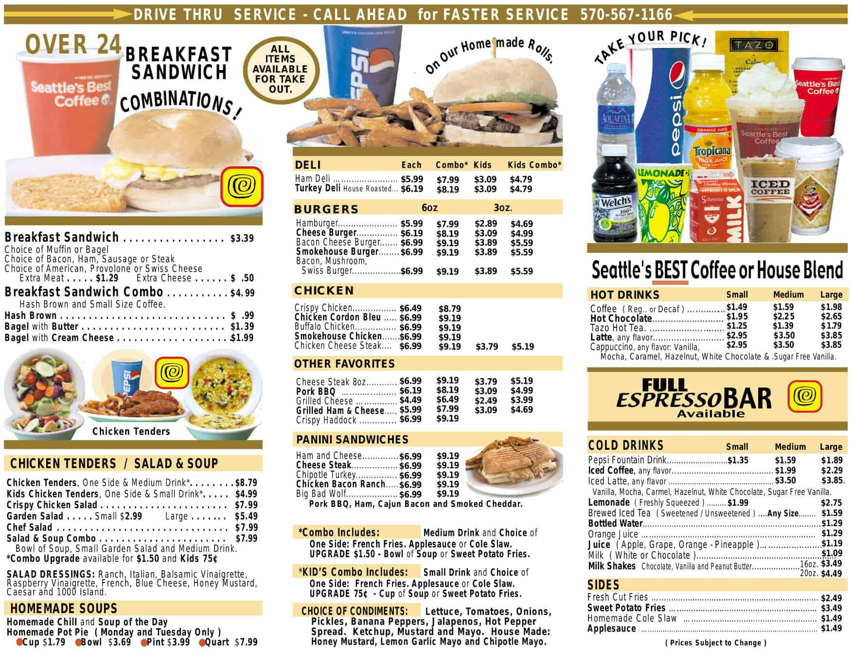 Mr. Sticky's Menu - Williamsport